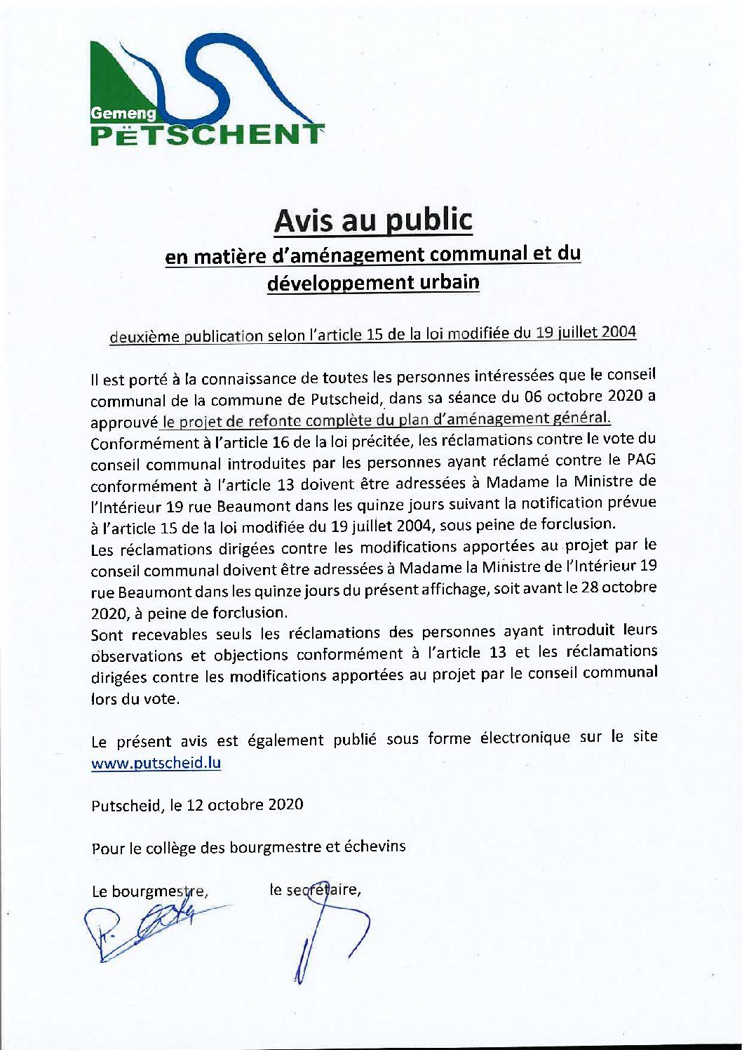 Avis au public_deuxième publication PAG