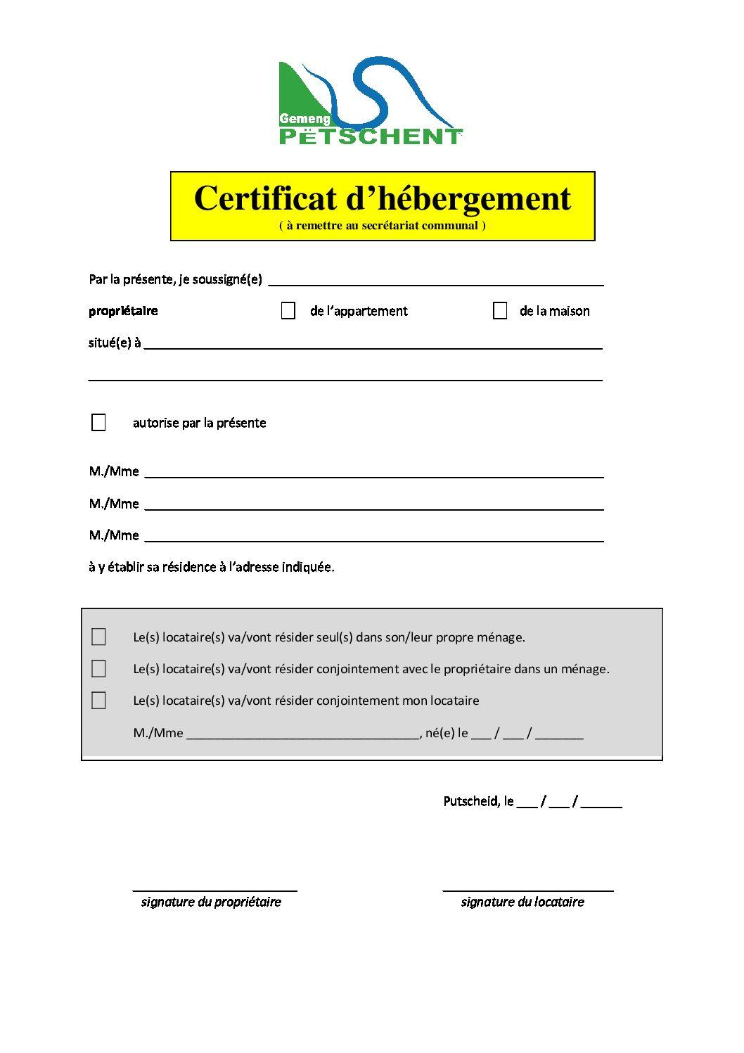 Certificat d'hébergement