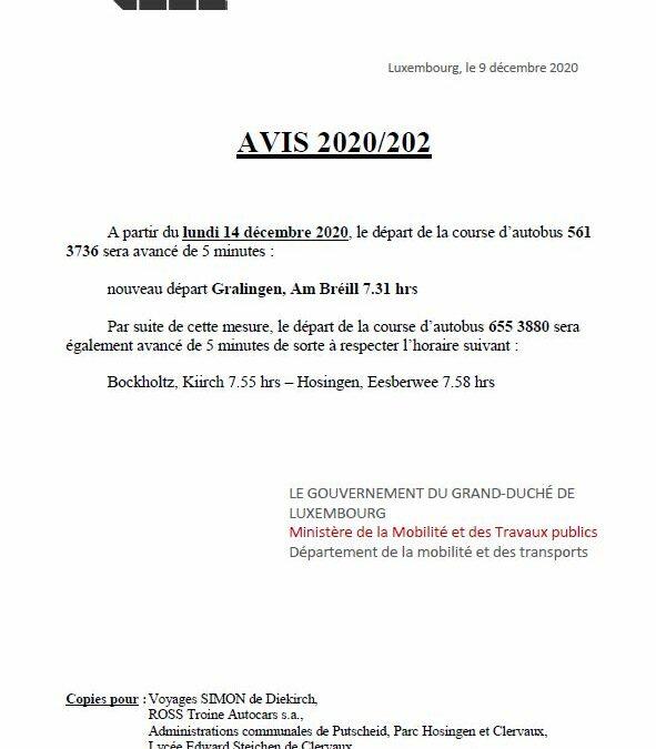 Avis 2020/202-203 – départs avancés lignes 561