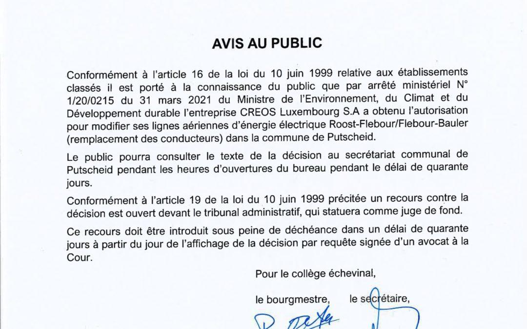 Avis au public – autorisation ministère – Creos – modification des lignes aériennes d'énergie
