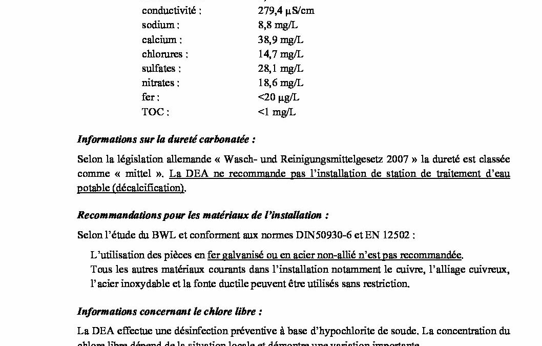 Bulletins d'analyse de l'eau potable
