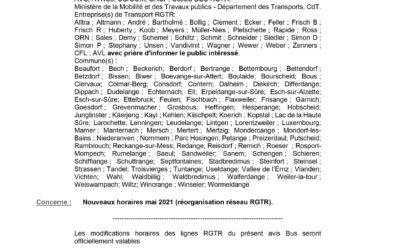 Nouveaux horaires mai 2021 (réorganisation réseau RGTR)