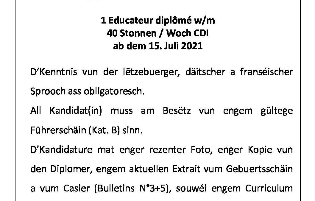 Vacance de post SISPOLO – éducateur diplômé 40hrs / CDI