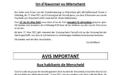 Avis aux habitants de Merscheid