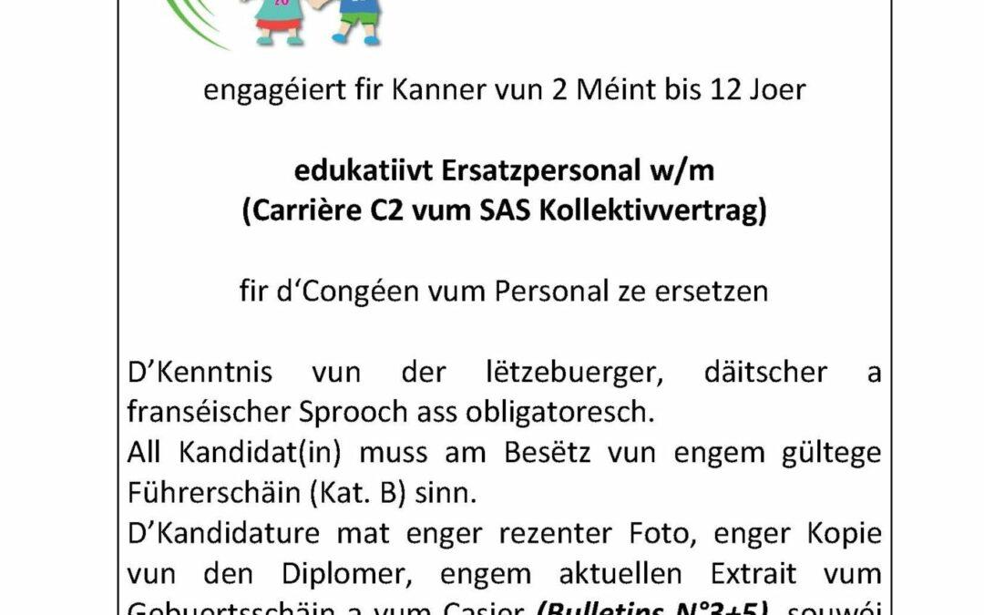 Annonce SISPOLO – edukativt Ersatzpersonal 2021